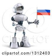 Clipart Of A 3d White And Blue Robot Holding And Presenting A Russian Flag Royalty Free Illustration