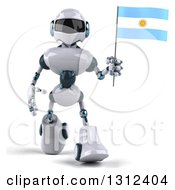 Clipart Of A 3d White And Blue Robot Walking And Holding An Argentine Flag Royalty Free Illustration