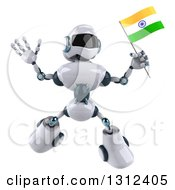 Clipart Of A 3d White And Blue Robot Jumping And Holding An Indian Flag Royalty Free Illustration