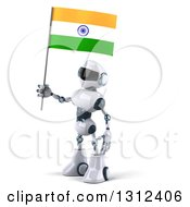 Clipart Of A 3d White And Blue Robot Facing Left And Holding An Indian Flag Royalty Free Illustration