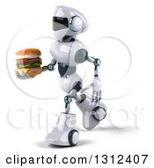 Clipart Of A 3d White And Blue Robot Walking To The Left And Holding A Double Cheeseburger Royalty Free Illustration