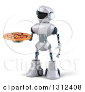 Clipart Of A 3d White And Blue Robot Holding A Pizza Royalty Free Illustration