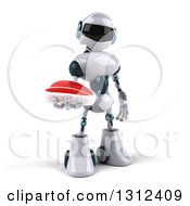 Clipart Of A 3d White And Blue Robot Holding A Beef Steak Royalty Free Illustration