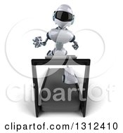 Clipart Of A 3d White And Blue Robot Looking Up And Running On A Treadmill Royalty Free Illustration