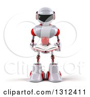 Clipart Of A 3d White And Red Robot Holding An Open Book Royalty Free Illustration