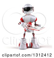 Clipart Of A 3d White And Red Robot Pointing To And Holding An Open Book Royalty Free Illustration