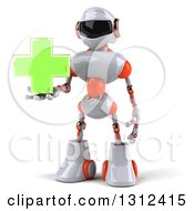Clipart Of A 3d White And Orange Robot Holding A Green Cross Royalty Free Illustration