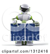 Clipart Of A 3d White And Green Male Techno Robot Pointing Down And Holding A Solar Panel Royalty Free Illustration by Julos
