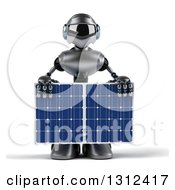 Clipart Of A 3d Silver Male Techno Robot Holding A Solar Panel Royalty Free Illustration by Julos