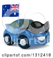 Clipart Of A 3d Blue Porche Car Facing Right Wearing Sunglasses And Holding An Australia Flag Royalty Free Illustration by Julos