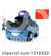 Clipart Of A 3d Blue Porsche Mechanic Car Wearing Sunglasses Facing Slightly Left Holding A Wrench And A Chinese Flag Royalty Free Illustration by Julos