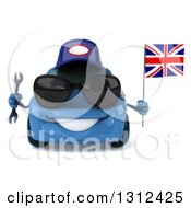 Clipart Of A 3d Blue Porsche Car Mechanic Wearing Sunglasses Holding A Wrench And British Flag Royalty Free Illustration by Julos
