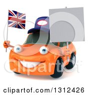 Clipart Of A 3d Orange Porsche Car Mechanic Facing Slightly Left Holding A Blank Sign And British Flag Royalty Free Illustration