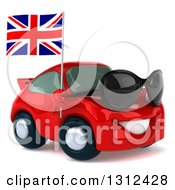 Clipart Of A 3d Red Porsche Car Facing Right Wearing Sunglasses And Holding A British Flag Royalty Free Illustration