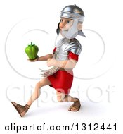 Clipart Of A 3d Young Male Roman Legionary Soldier Speed Walking To The Left With A Bell Pepper Royalty Free Illustration