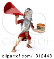 Clipart Of A 3d Young Male Roman Legionary Soldier Holding A Double Cheeseburger And Using A Bullhorn Megaphone Royalty Free Illustration