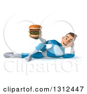 Clipart Of A 3d Young Brunette White Male Super Hero In A Blue Suit Resting On His Side And Holding A Double Cheeseburger Royalty Free Illustration