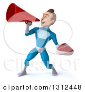 Clipart Of A 3d Young Brunette White Male Super Hero In A Blue Suit Holding A Beef Steak And Using A Bullhorn Royalty Free Illustration
