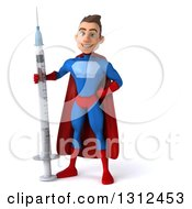 Clipart Of A 3d Young Brunette White Male Super Hero In A Blue And Red Suit Standing With A Giant Syringe Royalty Free Illustration