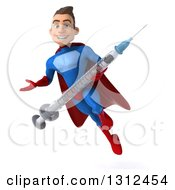 Clipart Of A 3d Young Brunette White Male Super Hero In A Blue And Red Suit Flying And Presenting With A Giant Syringe Royalty Free Illustration
