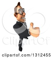 Clipart Of A 3d Bespectacled Macho White Businessman Facing Right And Giving A Thumb Up Royalty Free Illustration