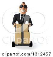 Clipart Of A 3d Macho White Businessman Wearing Shades And Moving Boxes On A Dolly Royalty Free Illustration