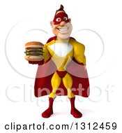 Clipart Of A 3d Muscular Yellow And Red Super Hero Man Holding A Double Cheeseburger Royalty Free Illustration