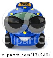 Clipart Of A 3d European Taxi Cab Character Wearing Sunglasses Royalty Free Illustration by Julos