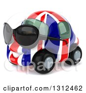 Clipart Of A 3d British Flag Car Character Wearing Sunglasses And Facing To The Left Royalty Free Illustration