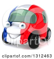 Clipart Of A 3d French Car Car Character Facing Slightly Left Royalty Free Illustration