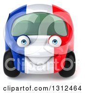 Clipart Of A 3d French Car Car Character Royalty Free Illustration