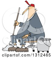 Cartoon White Male Custodian Janitor Taking A Break And Sitting In A Chair With A Mop And Bucket