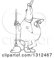 Lineart Clipart Of A Cartoon Black And White Male Custodian Janitor Checking His Watch And Standing With A Mop And Bucket Royalty Free Outline Vector Illustration by djart