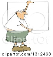 Clipart Of A Cartoon Chubby White Man Wearing Safety Goggles And Holding Up A Blank Sign Royalty Free Vector Illustration