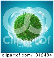 Clipart Of A 3d Fern Globe With A Circle Of Clouds And Blue Sky Royalty Free Illustration