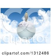 Clipart Of A 3d Penguin On An Ice Globe Floating In A Cloudy Sky Royalty Free Illustration