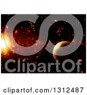 Clipart Of A 3d Background Of A Fictional Planet And Burst Royalty Free Illustration