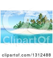 Clipart Of A 3d Tropical Island With Palm Trees And Blue Water Royalty Free Illustration