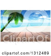 Clipart Of A 3d Wood Table Top Or Deck With A View Of A Tropical Beach And Palm Tree On A Beautiful Day Royalty Free Illustration