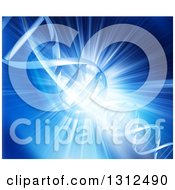 Clipart Of A Blue Burst Background With A 3d Dna Strand And Lights Royalty Free Illustration by KJ Pargeter