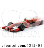 Clipart Of A 3d F1 Red Race Car With Blur Effect On White Royalty Free Illustration