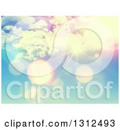 Clipart Of A 3d Vintage Effect Sun Shining With Flares Through Clouds Royalty Free Vector Illustration