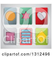Clipart Of Patterned Shape Backgrounds Or Cards On Gray Royalty Free Vector Illustration