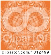 Clipart Of A White And Orange Geometric Snowflake Background Royalty Free Vector Illustration