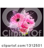 Clipart Of A Pink Rose And Gerbera Daisies With Grunge On Dark Royalty Free Illustration
