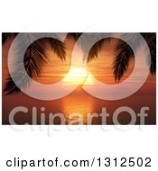 3d Orange Tropical Ocean Sunset Framed By Silhouetted Palm Tree Branches