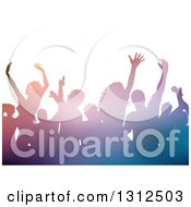 Clipart Of A Group Of Silhouetted Dancers In A Crowd With Lights Royalty Free Vector Illustration by KJ Pargeter