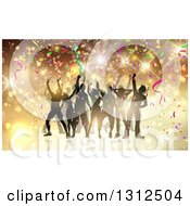 Clipart Of A Group Of Silhouetted Dancers In A Party Crowd With Flares And Confetti Royalty Free Vector Illustration by KJ Pargeter