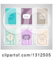 Clipart Of Retro Patterned Design Backgrounds With Sample Text On Shaded Gray Royalty Free Vector Illustration