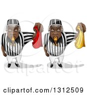 Black Male Referees Blowing Whistles And Holding Red And Yellow Flags
